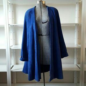 Vintage Blue Suede Swing Coat